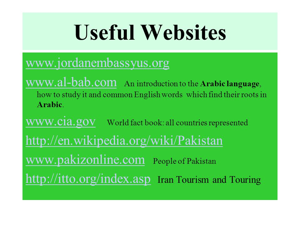 Useful Websites www.jordanembassyus.org www.al-bab.comwww.al-bab.com An introduction to the Arabic language, how to study it and common English words