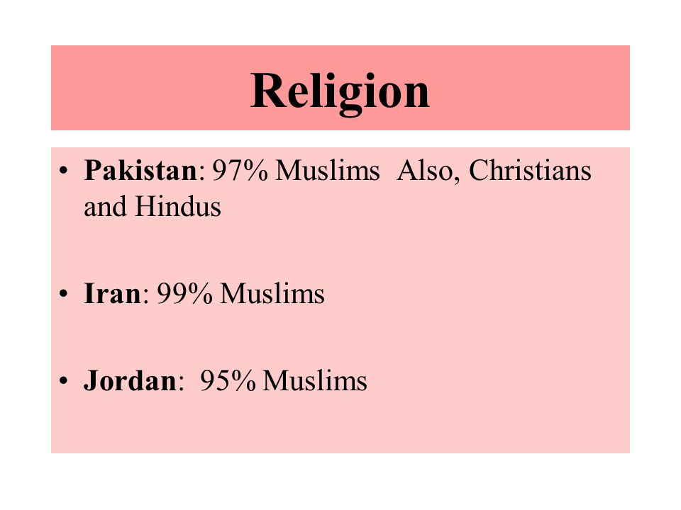 Religion Pakistan: 97% Muslims Also, Christians and Hindus Iran: 99% Muslims Jordan: 95% Muslims