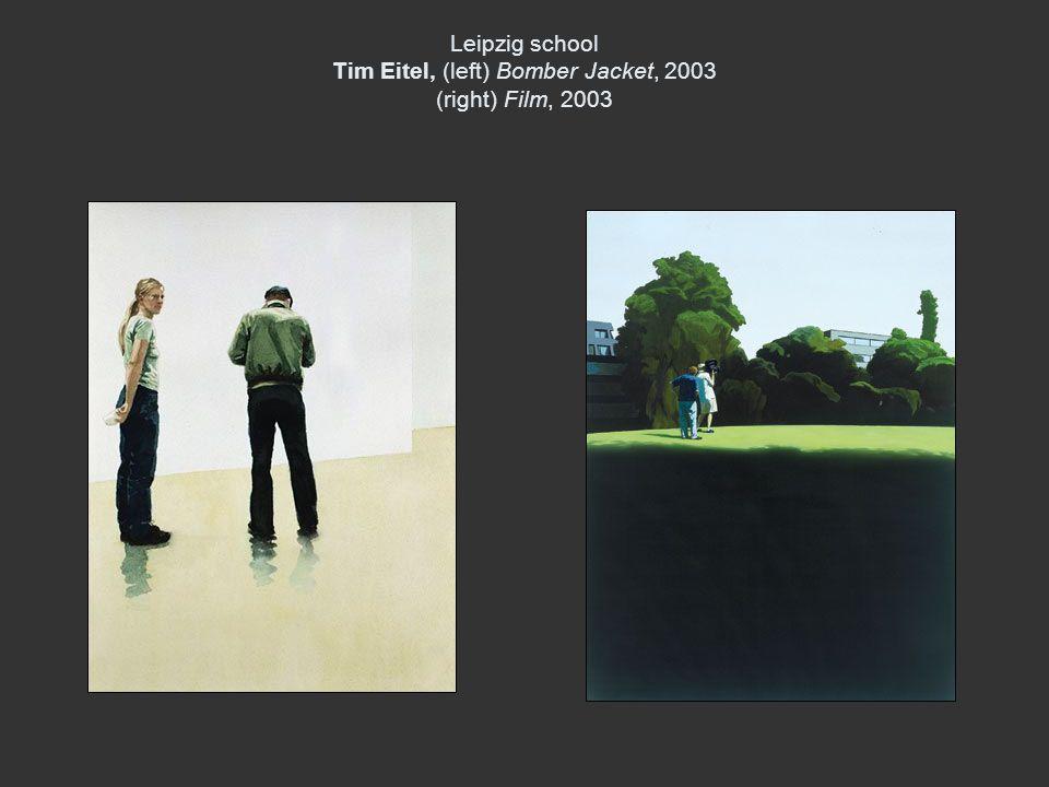 Leipzig school Tim Eitel, (left) Bomber Jacket, 2003 (right) Film, 2003