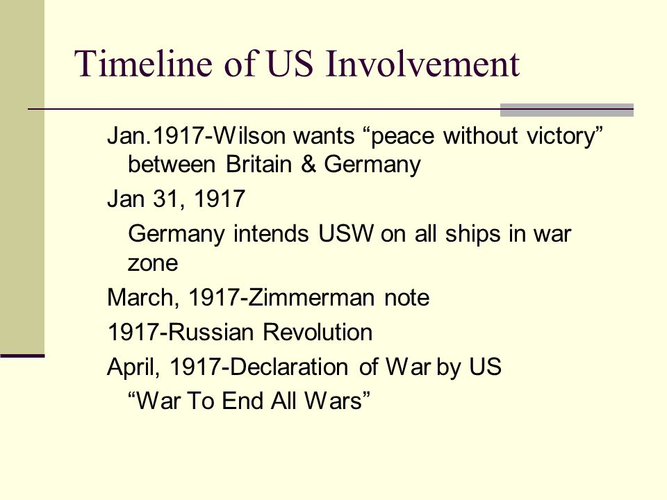 "Reasons for US involvement Ties to Britain ""Insult"" of Zimmerman note—Yellow Press Unrestricted Submarine Warfare Russian Revolution US to replace Rus"