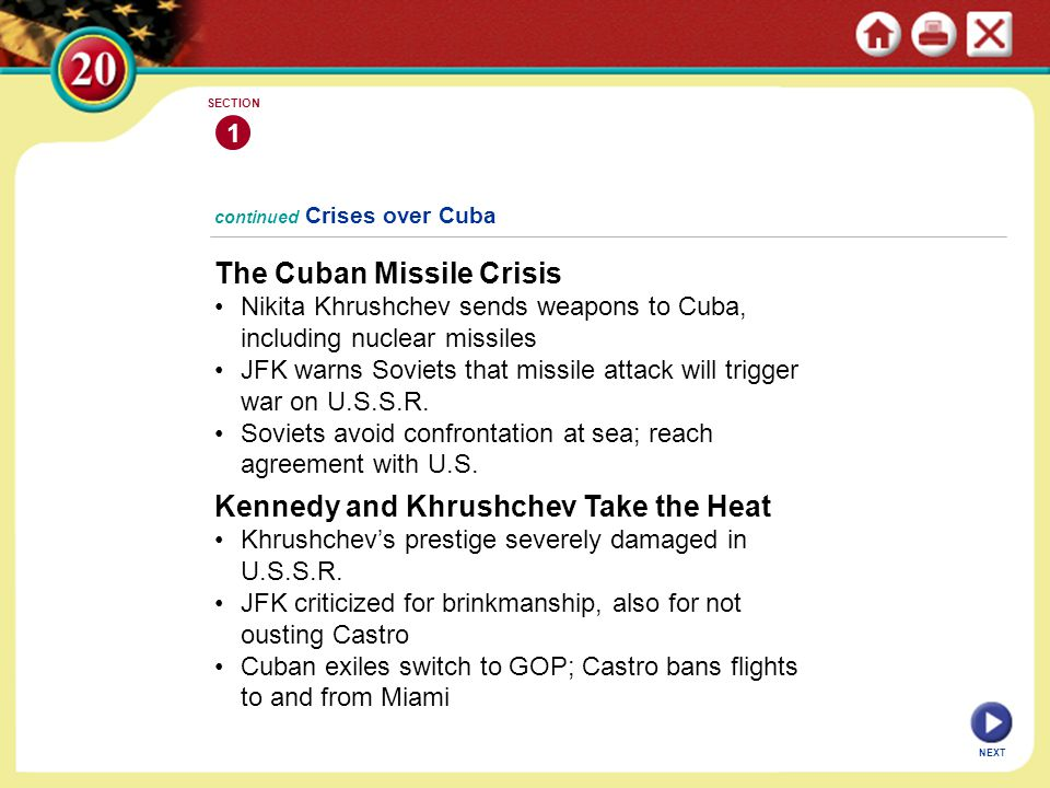 continued Crises over Cuba The Cuban Missile Crisis Nikita Khrushchev sends weapons to Cuba, including nuclear missiles JFK warns Soviets that missile attack will trigger war on U.S.S.R.