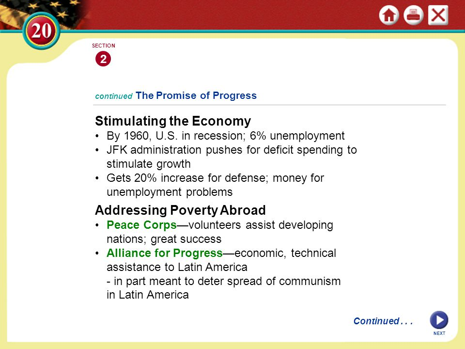 continued The Promise of Progress Stimulating the Economy By 1960, U.S.