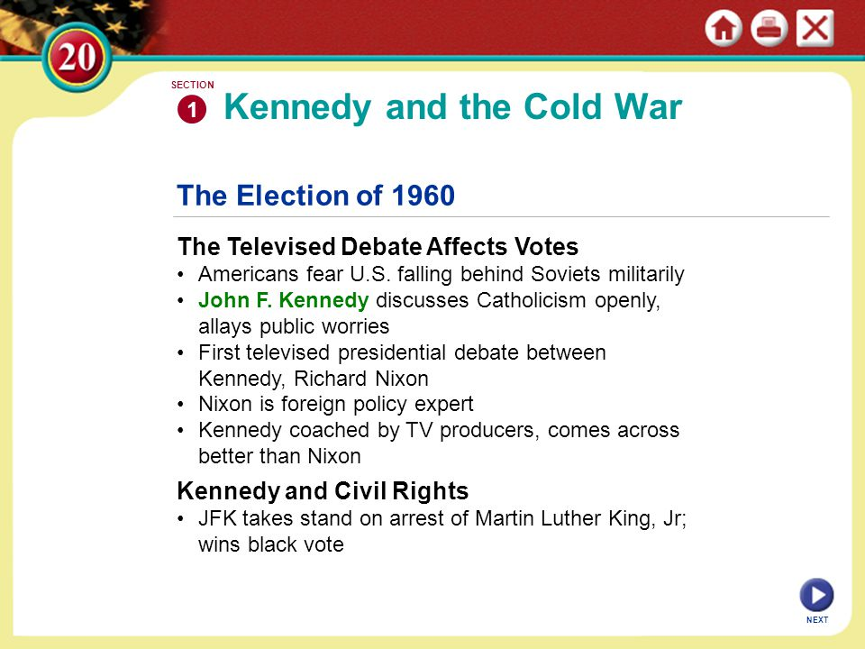 The Election of 1960 The Televised Debate Affects Votes Americans fear U.S.