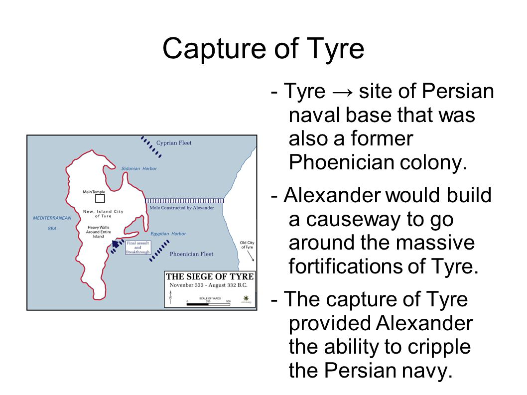 Capture of Tyre - Tyre → site of Persian naval base that was also a former Phoenician colony.