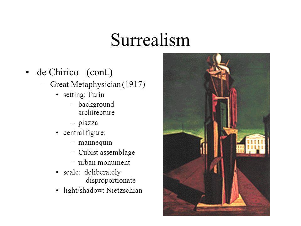 Surrealism de Chirico (cont.) –Great Metaphysician (1917) setting: Turin –background architecture –piazza central figure: –mannequin –Cubist assemblag