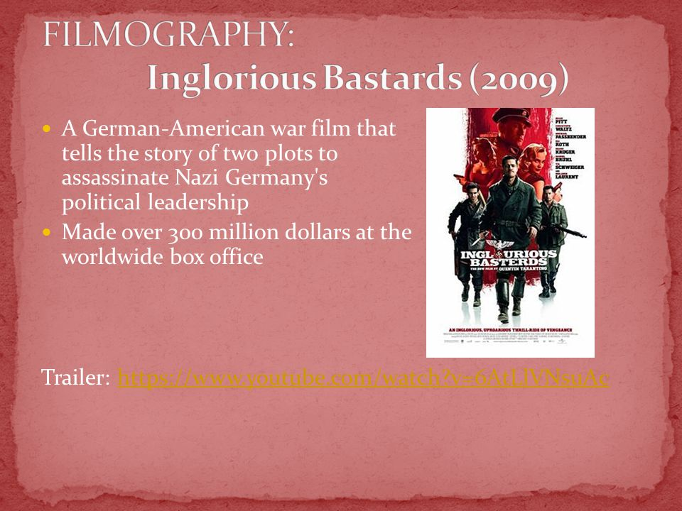 A German-American war film that tells the story of two plots to assassinate Nazi Germany s political leadership Made over 300 million dollars at the worldwide box office Trailer: https://www.youtube.com/watch v=6AtLlVNsuAchttps://www.youtube.com/watch v=6AtLlVNsuAc