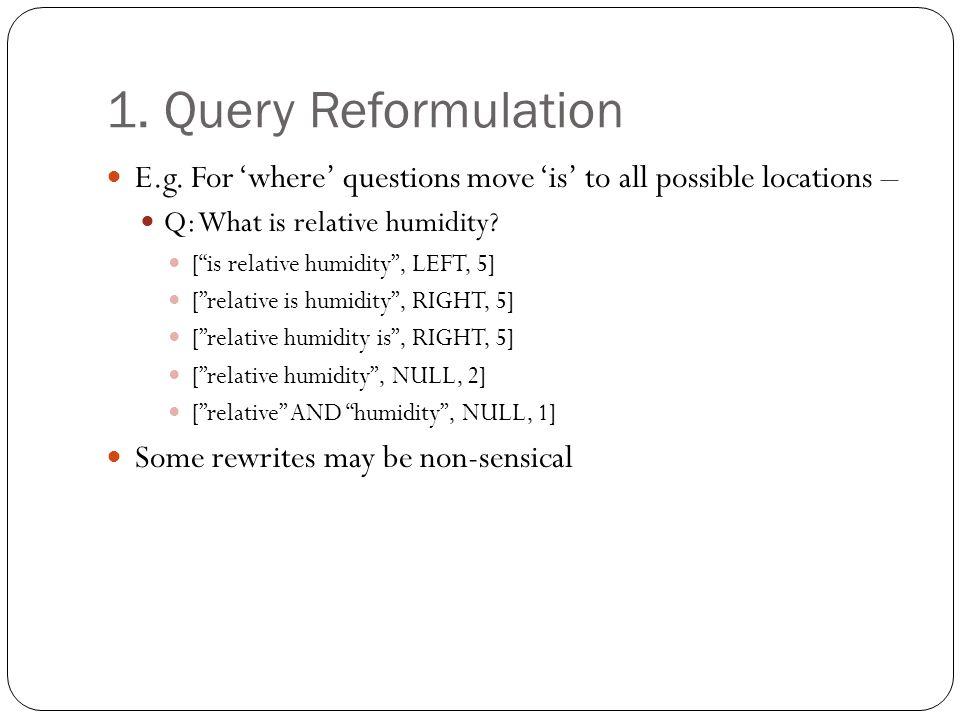 1. Query Reformulation E.g.