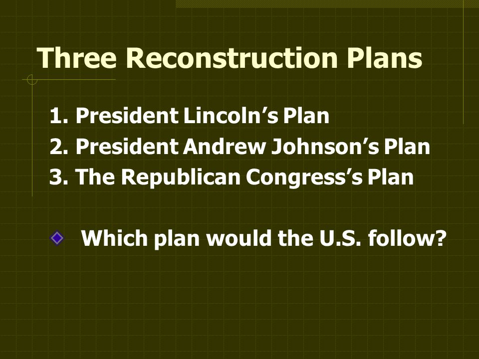 Three Reconstruction Plans 1. President Lincoln's Plan 2.