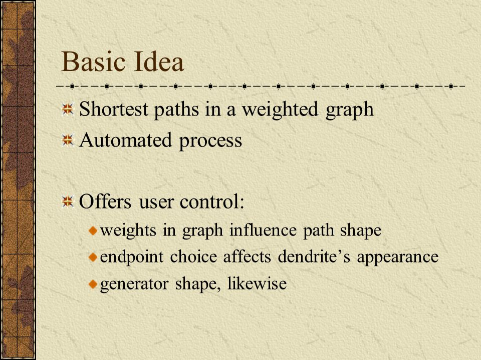 Implementation Dijkstra's algorithm used to get costs from root to all other nodes in graph O(N) to cover graph O(n) for path from arbitrary endpoint to root endpoints placed by hand or procedurally