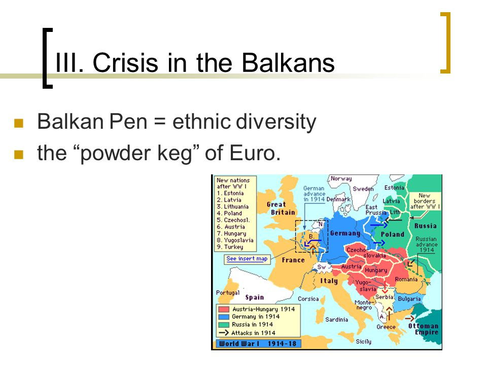 "III. Crisis in the Balkans Balkan Pen = ethnic diversity the ""powder keg"" of Euro."