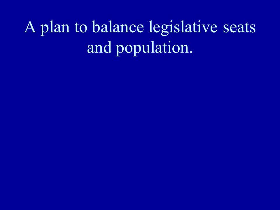 A plan to balance legislative seats and population.