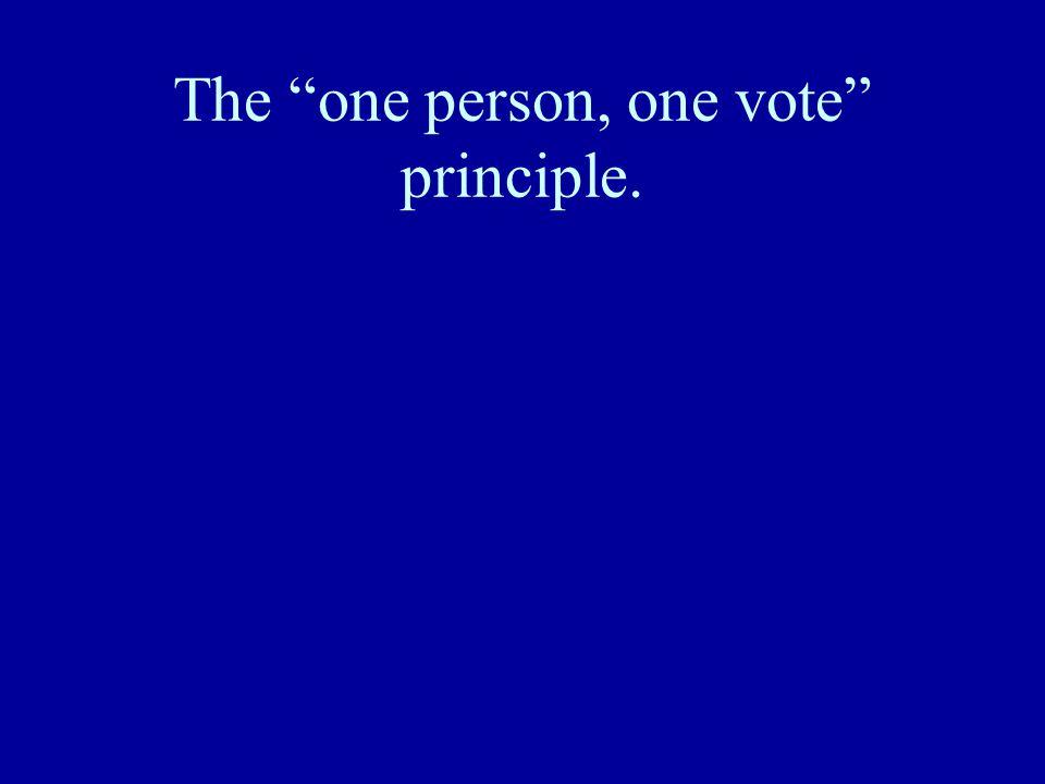 "The ""one person, one vote"" principle."
