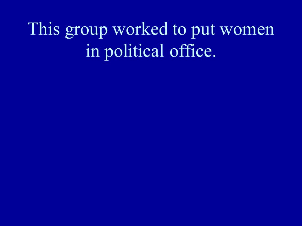 This group worked to put women in political office.