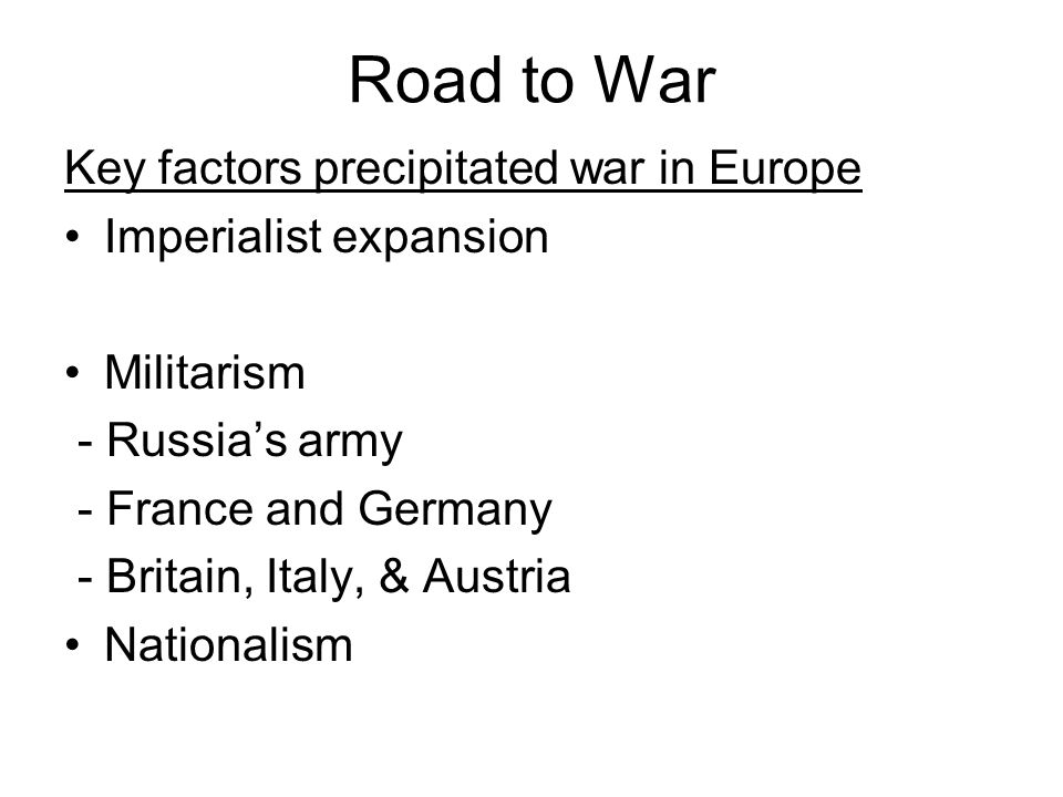Europe Divided, pg 587 Triple Entente : France, Great Britain & Russia (later referred to as Allies ) Triple Alliance (Central Powers) : Germany, Austria, Ottoman Empire (later Italy)