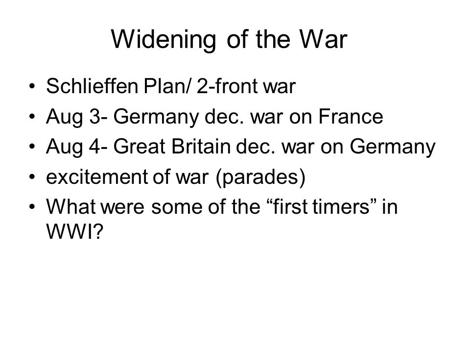 The Great War failure of Schlieffen Plan - western front stalemate (4 years) eastern front - Russia defeats Austria - Russian advances into Germany