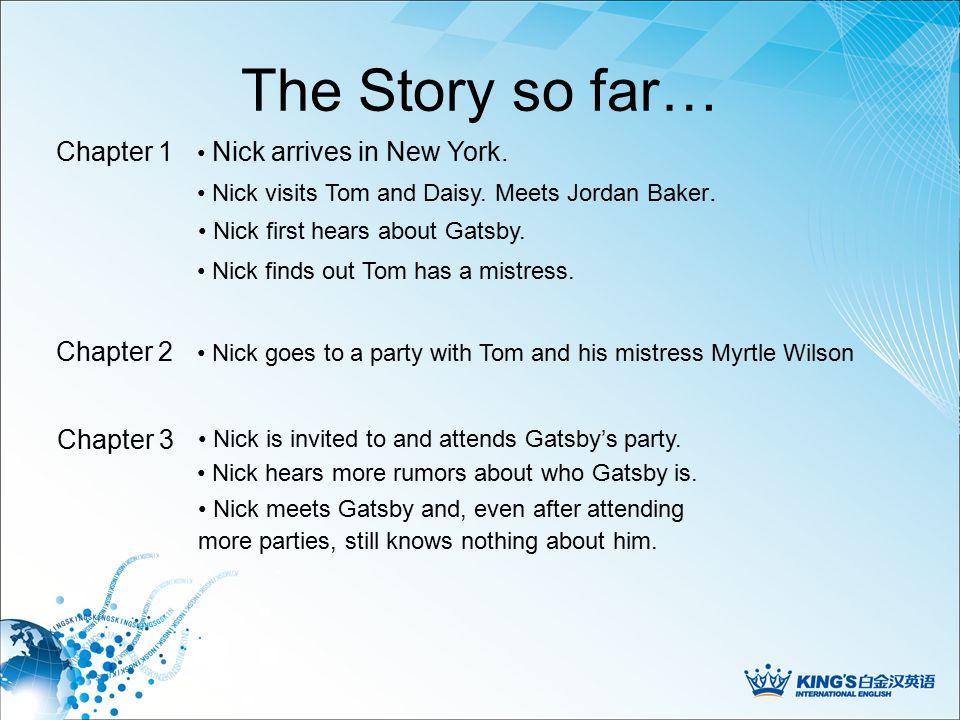 The Story so far… Nick arrives in New York. Chapter 1 Nick first hears about Gatsby.