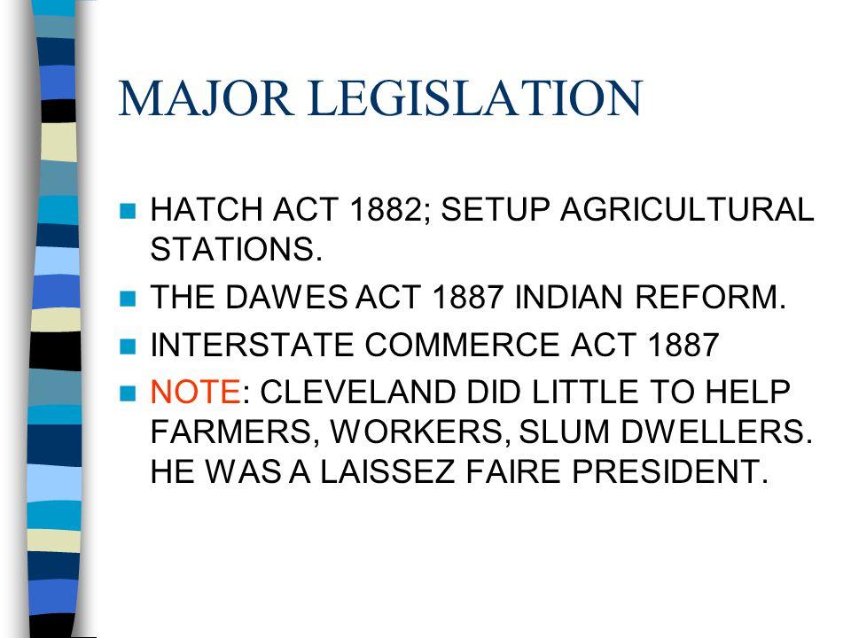 MAJOR LEGISLATION HATCH ACT 1882; SETUP AGRICULTURAL STATIONS.
