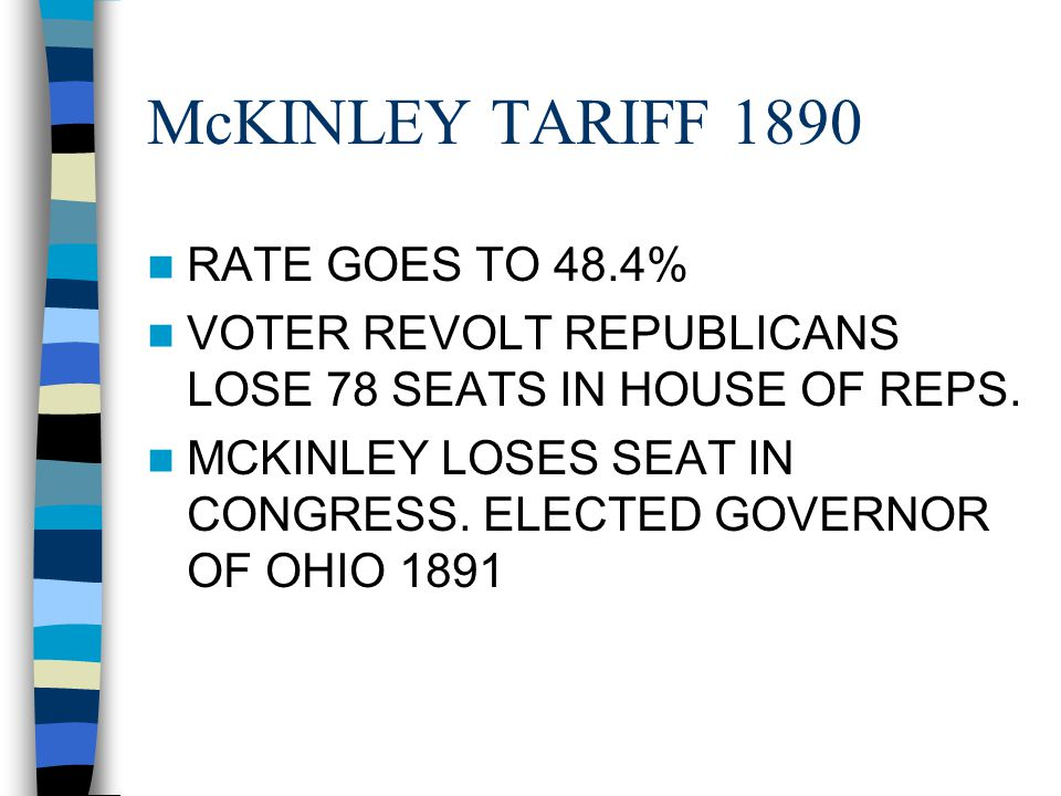 McKINLEY TARIFF 1890 RATE GOES TO 48.4% VOTER REVOLT REPUBLICANS LOSE 78 SEATS IN HOUSE OF REPS. MCKINLEY LOSES SEAT IN CONGRESS. ELECTED GOVERNOR OF