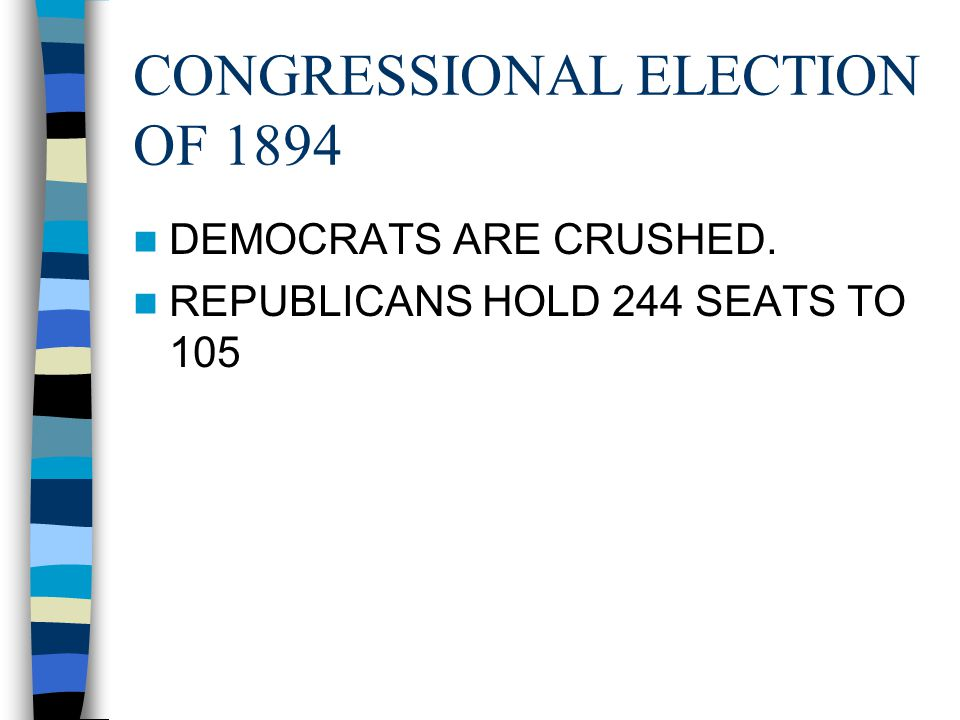 CONGRESSIONAL ELECTION OF 1894 DEMOCRATS ARE CRUSHED. REPUBLICANS HOLD 244 SEATS TO 105