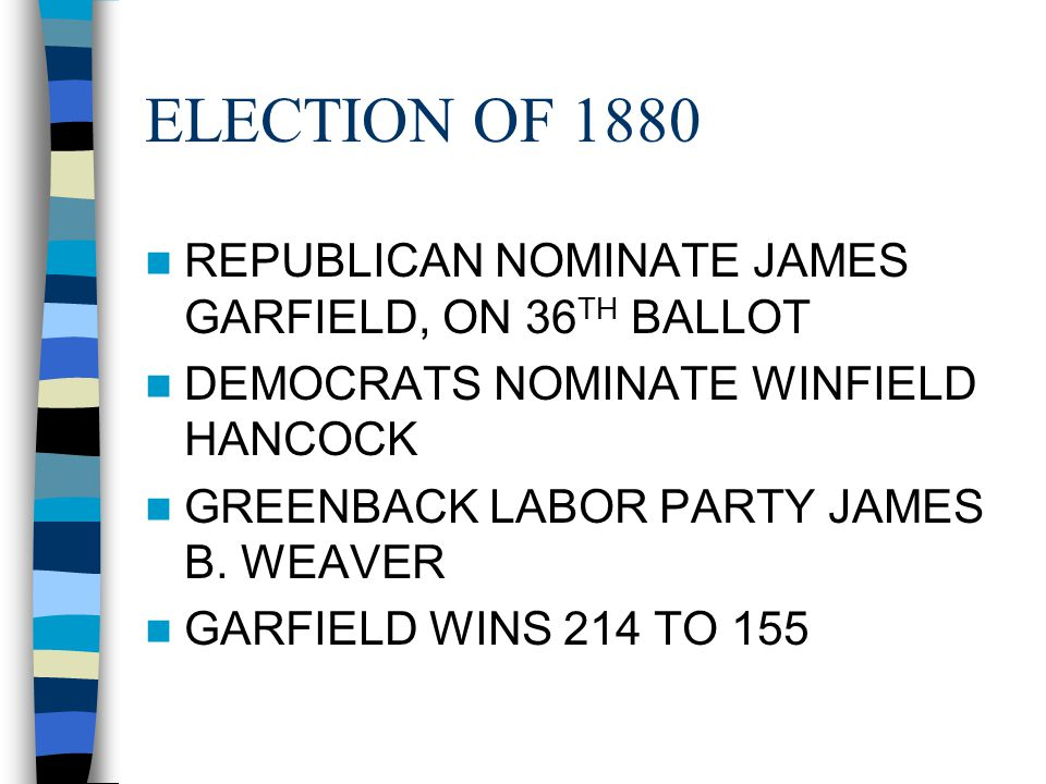 ELECTION OF 1880 REPUBLICAN NOMINATE JAMES GARFIELD, ON 36 TH BALLOT DEMOCRATS NOMINATE WINFIELD HANCOCK GREENBACK LABOR PARTY JAMES B. WEAVER GARFIEL