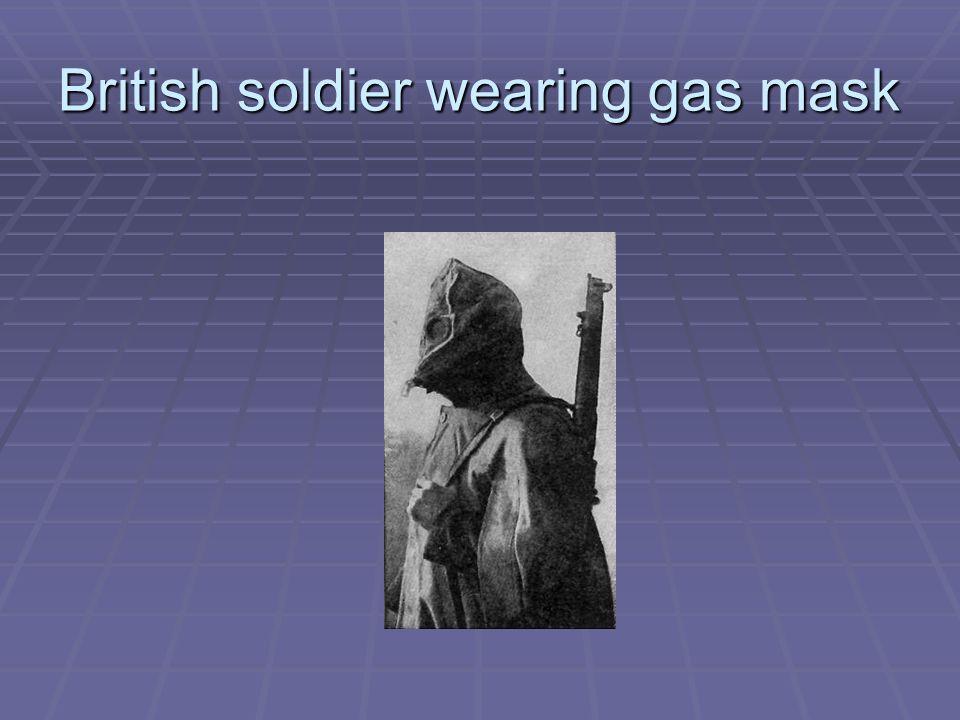 British soldier wearing gas mask