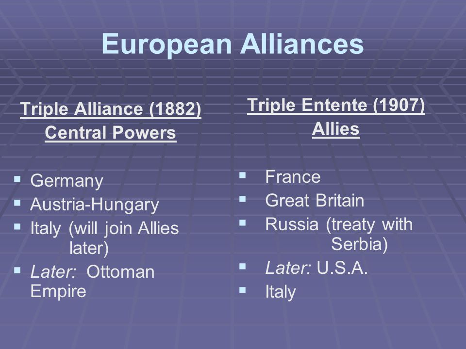 European Alliances Triple Entente (1907) Allies   France   Great Britain   Russia (treaty with Serbia)   Later: U.S.A.