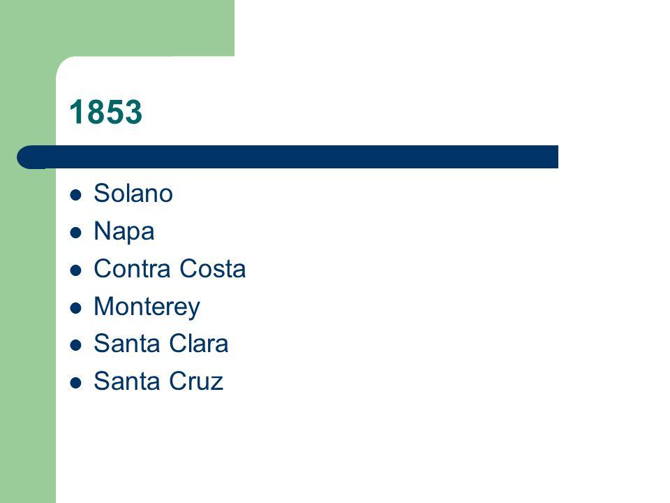 1853 Solano Napa Contra Costa Monterey Santa Clara Santa Cruz