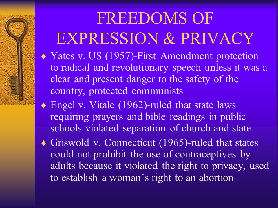 FREEDOMS OF EXPRESSION & PRIVACY  Yates v.