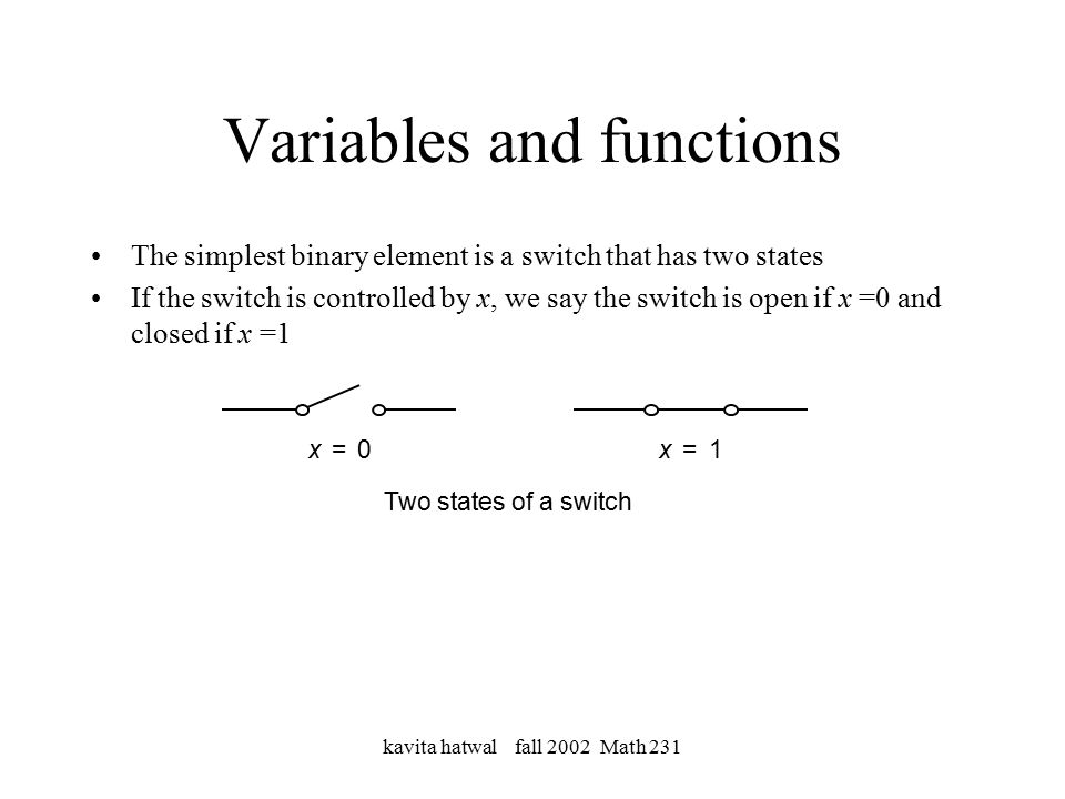 kavita hatwal fall 2002 Math 231 Variables and functions The simplest binary element is a switch that has two states If the switch is controlled by x, we say the switch is open if x =0 and closed if x =1 x1=x0= Two states of a switch