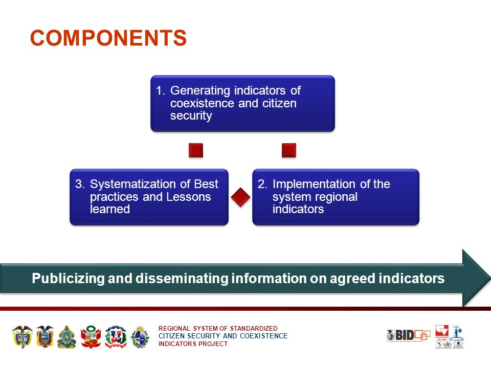 REGIONAL SYSTEM OF STANDARDIZED CITIZEN SECURITY AND COEXISTENCE INDICATORS PROJECT COMPONENTS 1.
