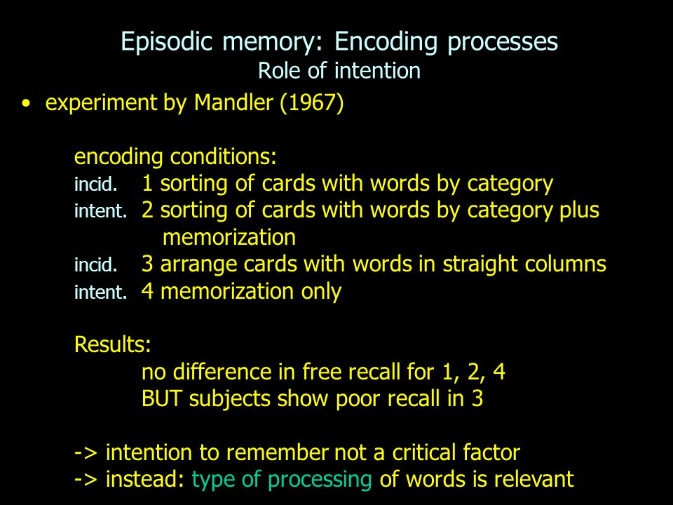 Episodic memory: Encoding processes Role of intention experiment by Mandler (1967) encoding conditions: incid. 1 sorting of cards with words by catego