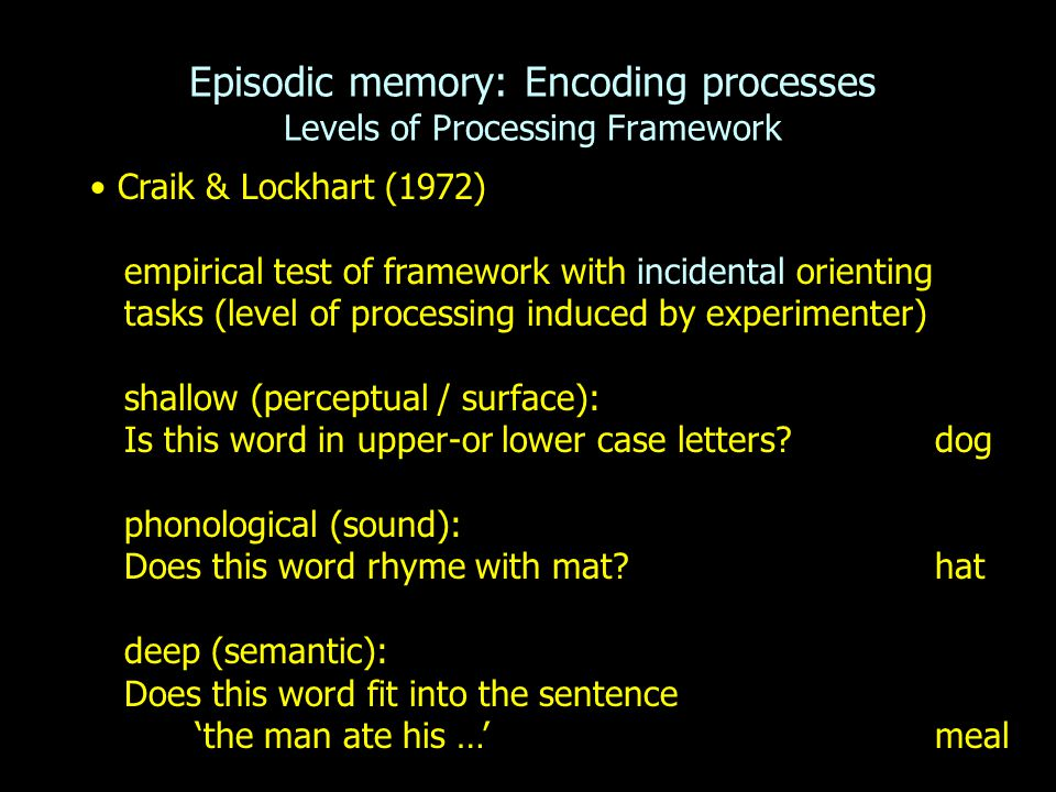 Episodic memory: Encoding processes Levels of Processing Framework Craik & Lockhart (1972) empirical test of framework with incidental orienting tasks