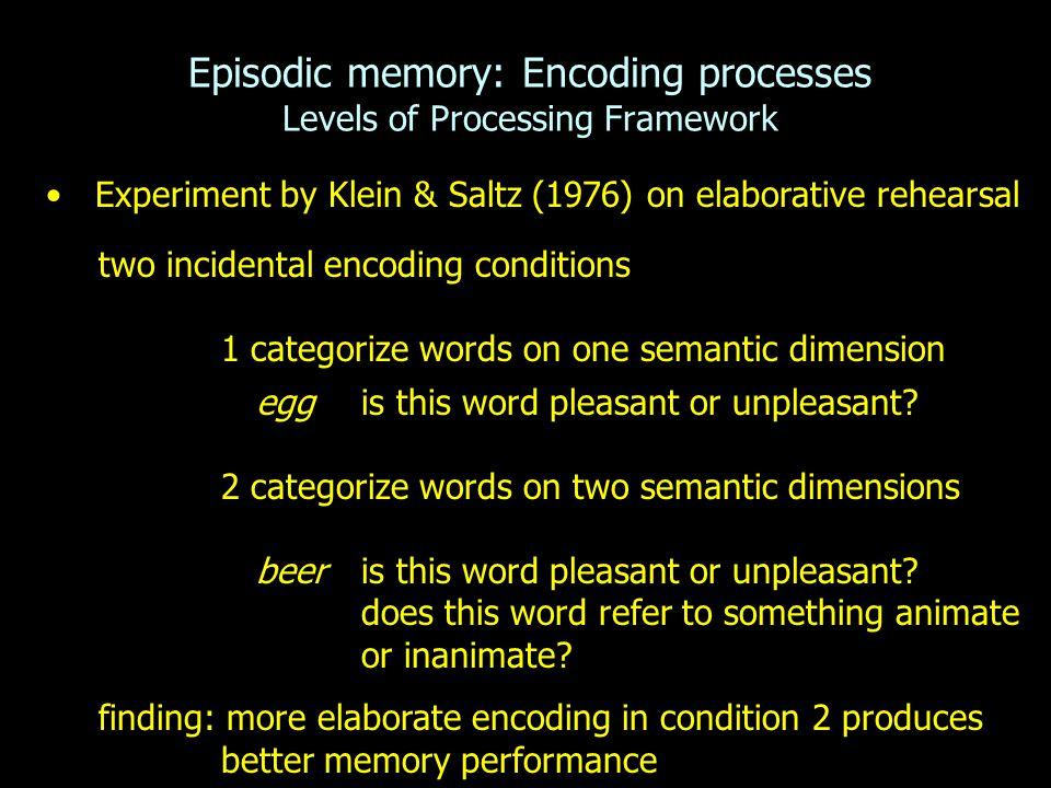 Episodic memory: Encoding processes Levels of Processing Framework Experiment by Klein & Saltz (1976) on elaborative rehearsal two incidental encoding