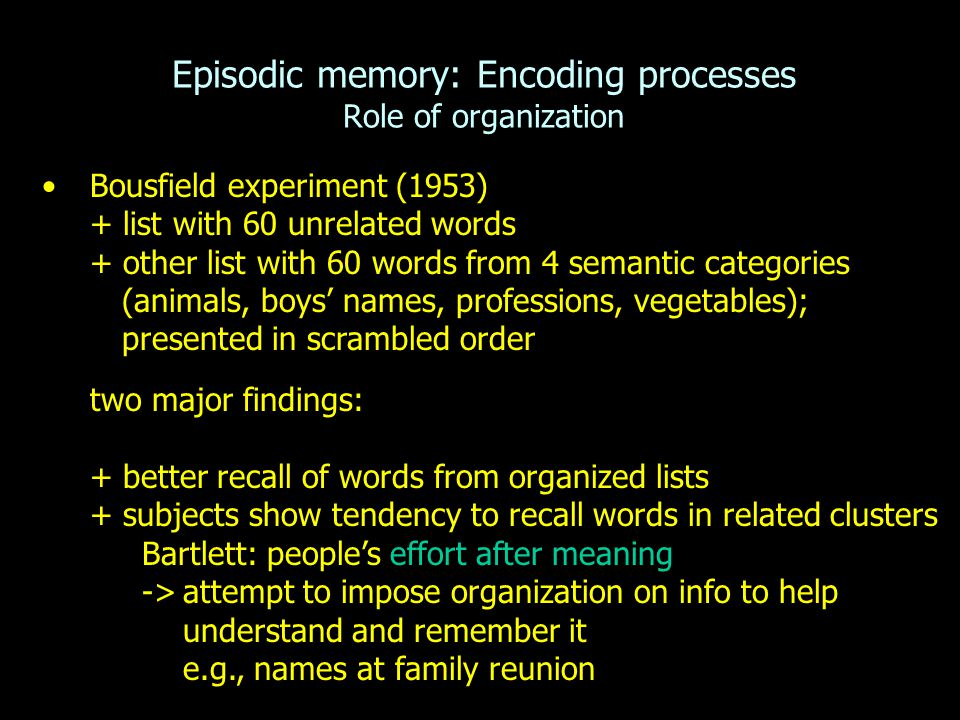 Episodic memory: Encoding processes Role of organization Bousfield experiment (1953) + list with 60 unrelated words + other list with 60 words from 4
