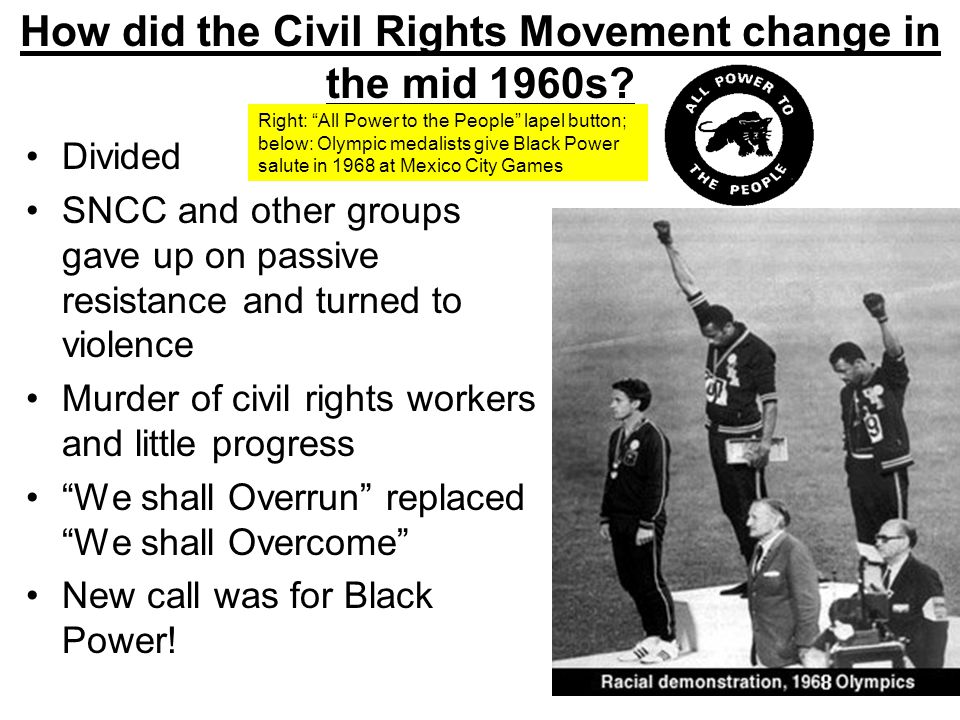 How did the Civil Rights Movement change in the mid 1960s? Divided SNCC and other groups gave up on passive resistance and turned to violence Murder o