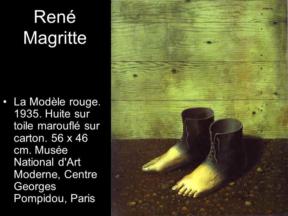 René Magritte La Modèle rouge. 1935. Huite sur toile marouflé sur carton.