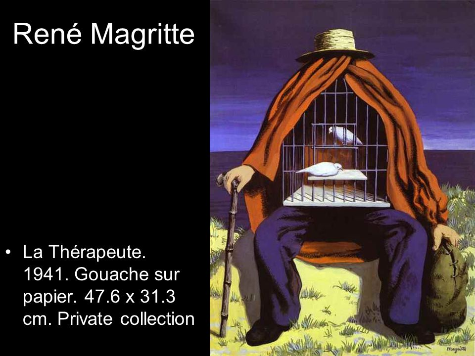 René Magritte La Thérapeute. 1941. Gouache sur papier. 47.6 x 31.3 cm. Private collection