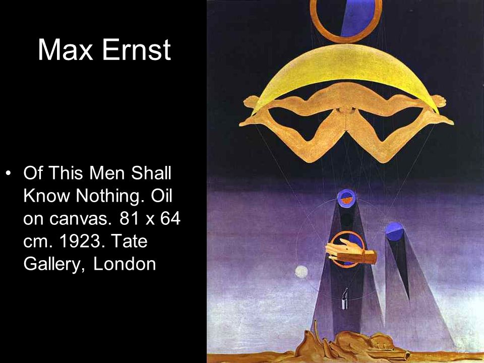 Max Ernst Of This Men Shall Know Nothing. Oil on canvas. 81 x 64 cm. 1923. Tate Gallery, London