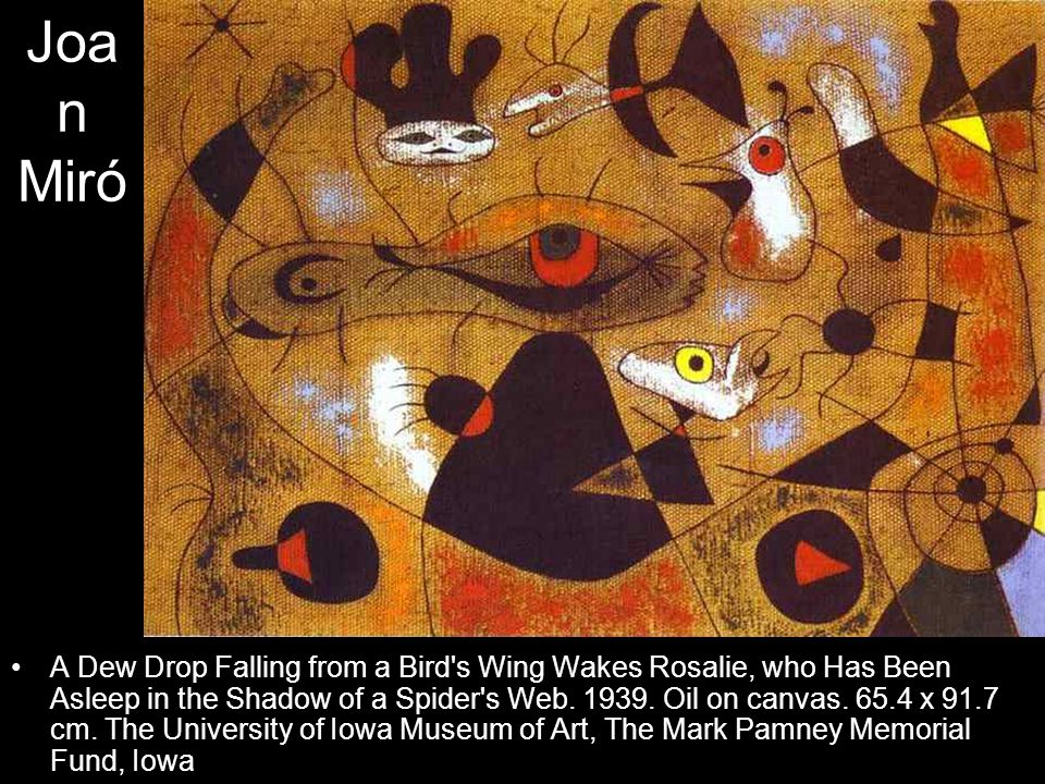 Joa n Miró A Dew Drop Falling from a Bird's Wing Wakes Rosalie, who Has Been Asleep in the Shadow of a Spider's Web. 1939. Oil on canvas. 65.4 x 91.7