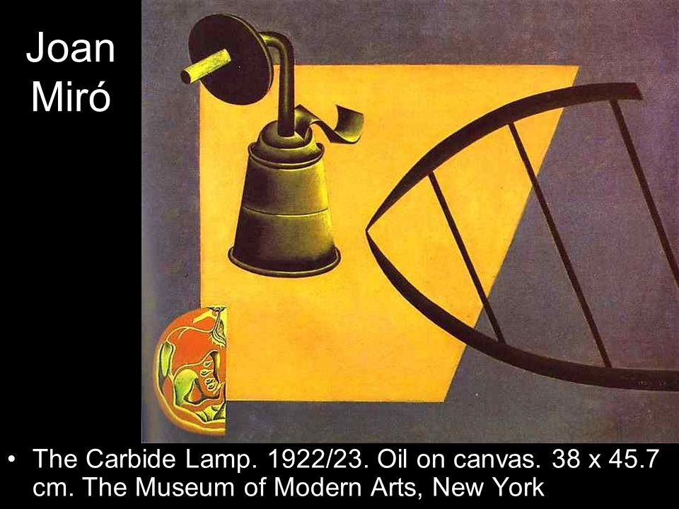 Joan Miró The Carbide Lamp. 1922/23. Oil on canvas. 38 x 45.7 cm. The Museum of Modern Arts, New York