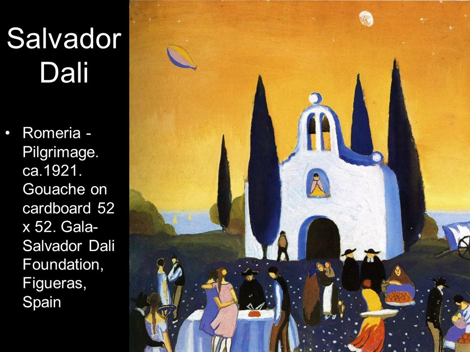 Salvador Dali Romeria - Pilgrimage. ca.1921. Gouache on cardboard 52 x 52.