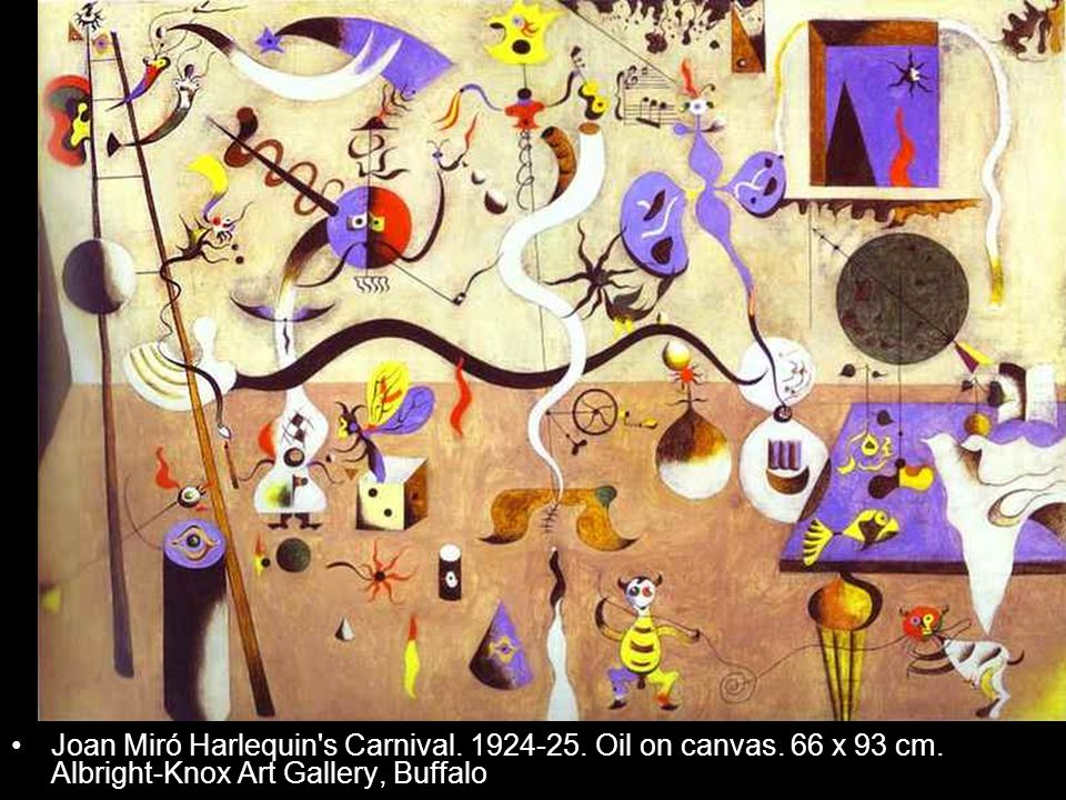 Joan Miró Harlequin's Carnival. 1924-25. Oil on canvas. 66 x 93 cm. Albright-Knox Art Gallery, Buffalo