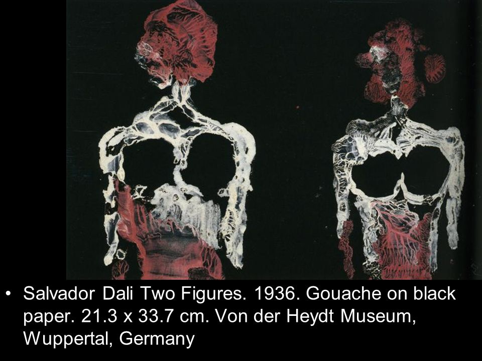 Salvador Dali Two Figures. 1936. Gouache on black paper. 21.3 x 33.7 cm. Von der Heydt Museum, Wuppertal, Germany