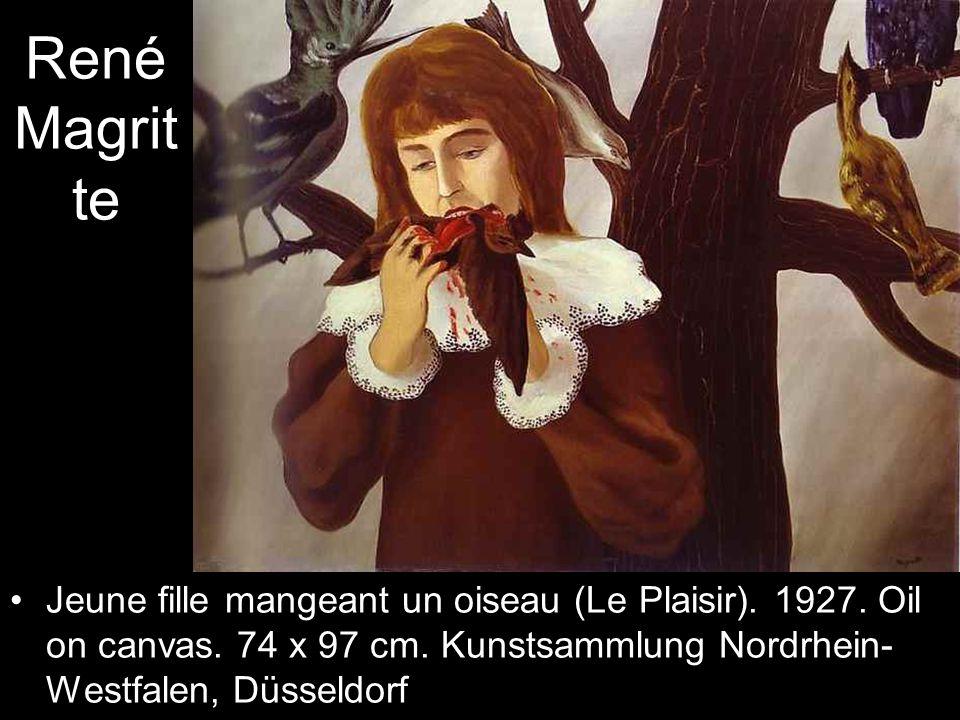 René Magrit te Jeune fille mangeant un oiseau (Le Plaisir).