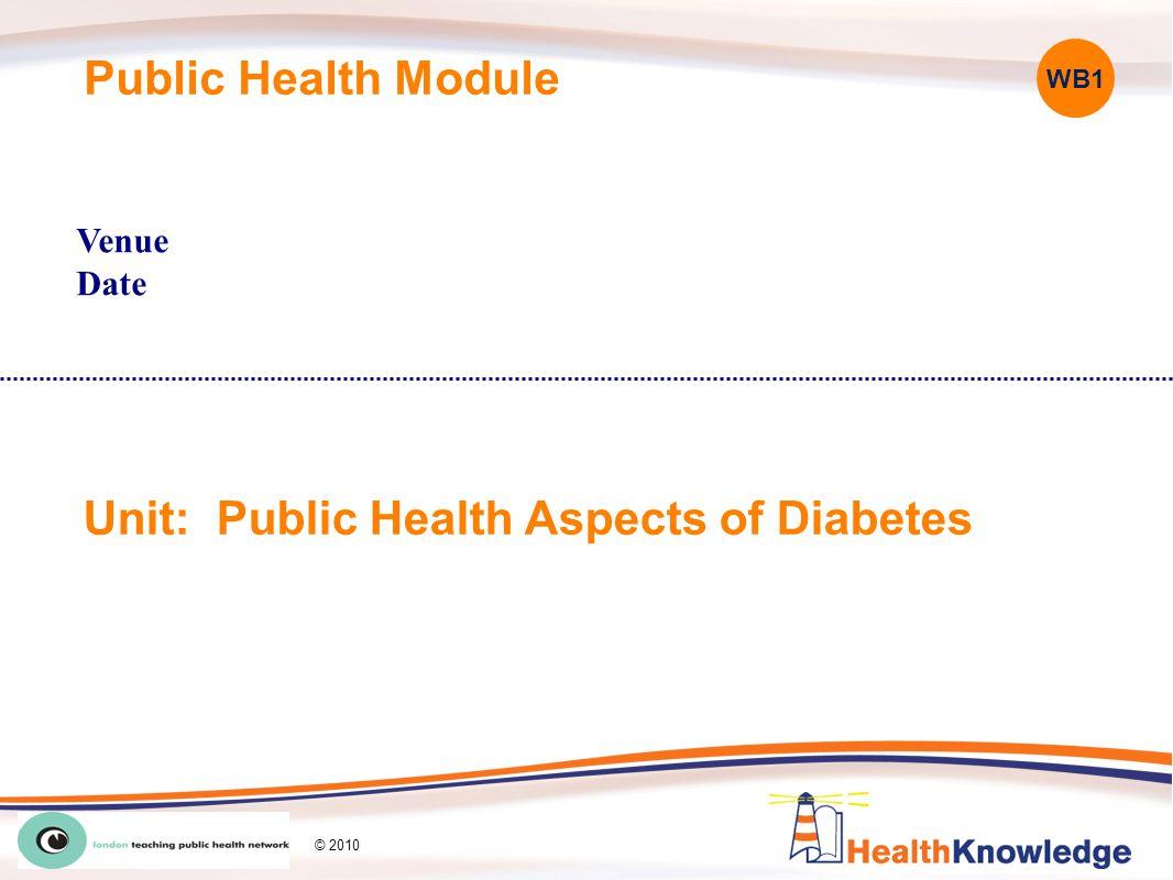 Public Health Module Venue Date Unit: Public Health Aspects of Diabetes WB1 © 2010