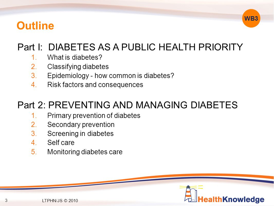 3 Outline Part I: DIABETES AS A PUBLIC HEALTH PRIORITY 1.What is diabetes? 2.Classifying diabetes 3.Epidemiology - how common is diabetes? 4.Risk fact