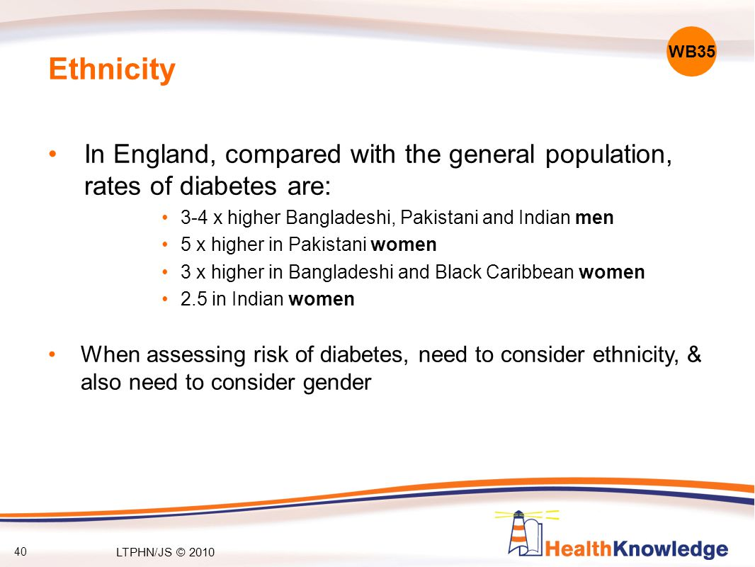 40 Ethnicity In England, compared with the general population, rates of diabetes are: 3-4 x higher Bangladeshi, Pakistani and Indian men 5 x higher in Pakistani women 3 x higher in Bangladeshi and Black Caribbean women 2.5 in Indian women When assessing risk of diabetes, need to consider ethnicity, & also need to consider gender WB35 LTPHN/JS © 2010