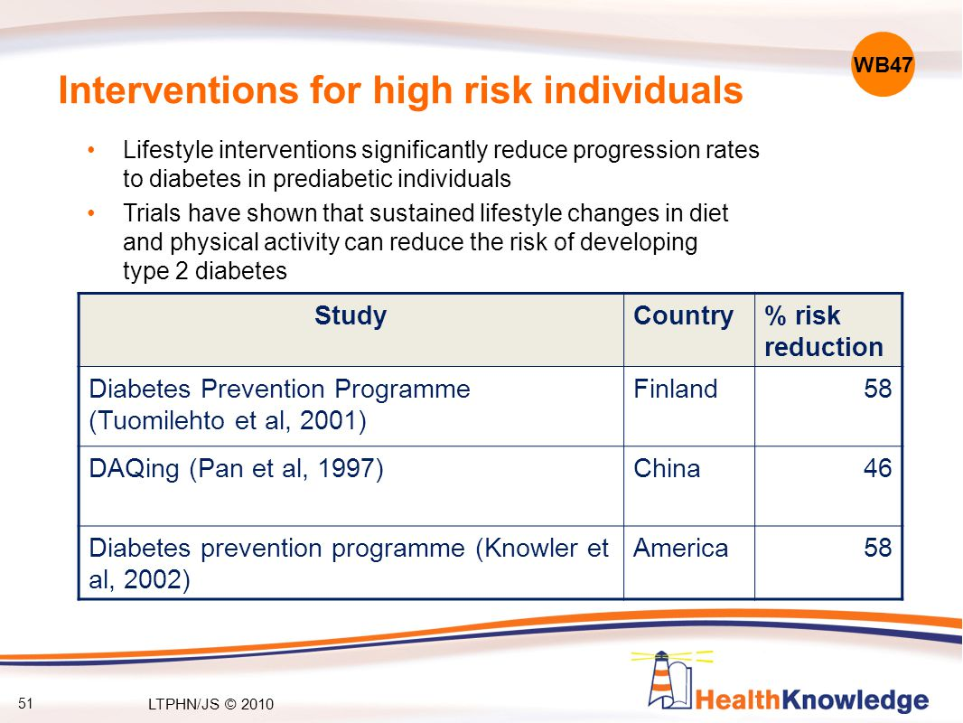 Interventions for high risk individuals Lifestyle interventions significantly reduce progression rates to diabetes in prediabetic individuals Trials h