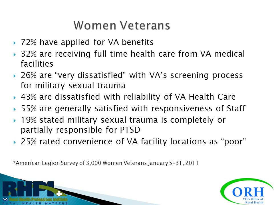 15% of Active duty – 18% of Reserve/NG Doubled since end of Vietnam War and expected to double again within 5-10 years 300,000 female patients within