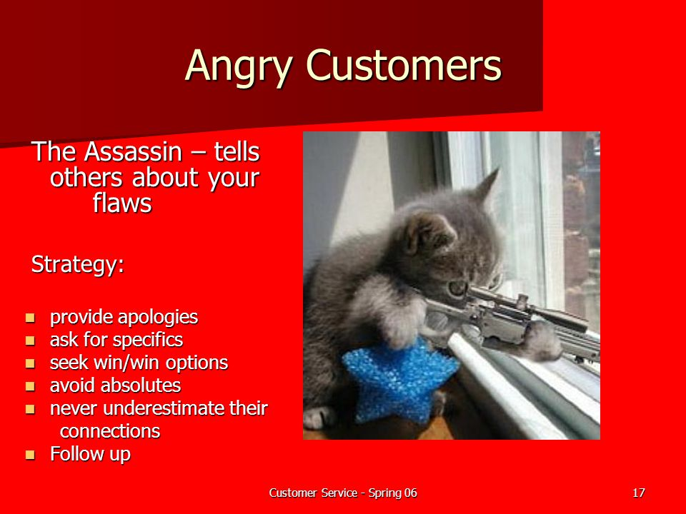 Customer Service - Spring 0617 Angry Customers The Assassin – tells others about your flaws The Assassin – tells others about your flaws Strategy: Str
